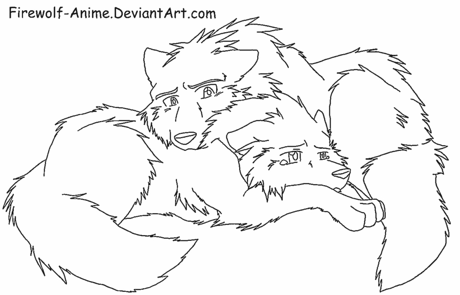 popular anime lineart Google Search Cute wolf drawings