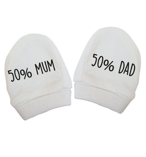 50% mum 50 dad baby mittens cute funny joke white by FloxCreative ... 4e175b9359e2