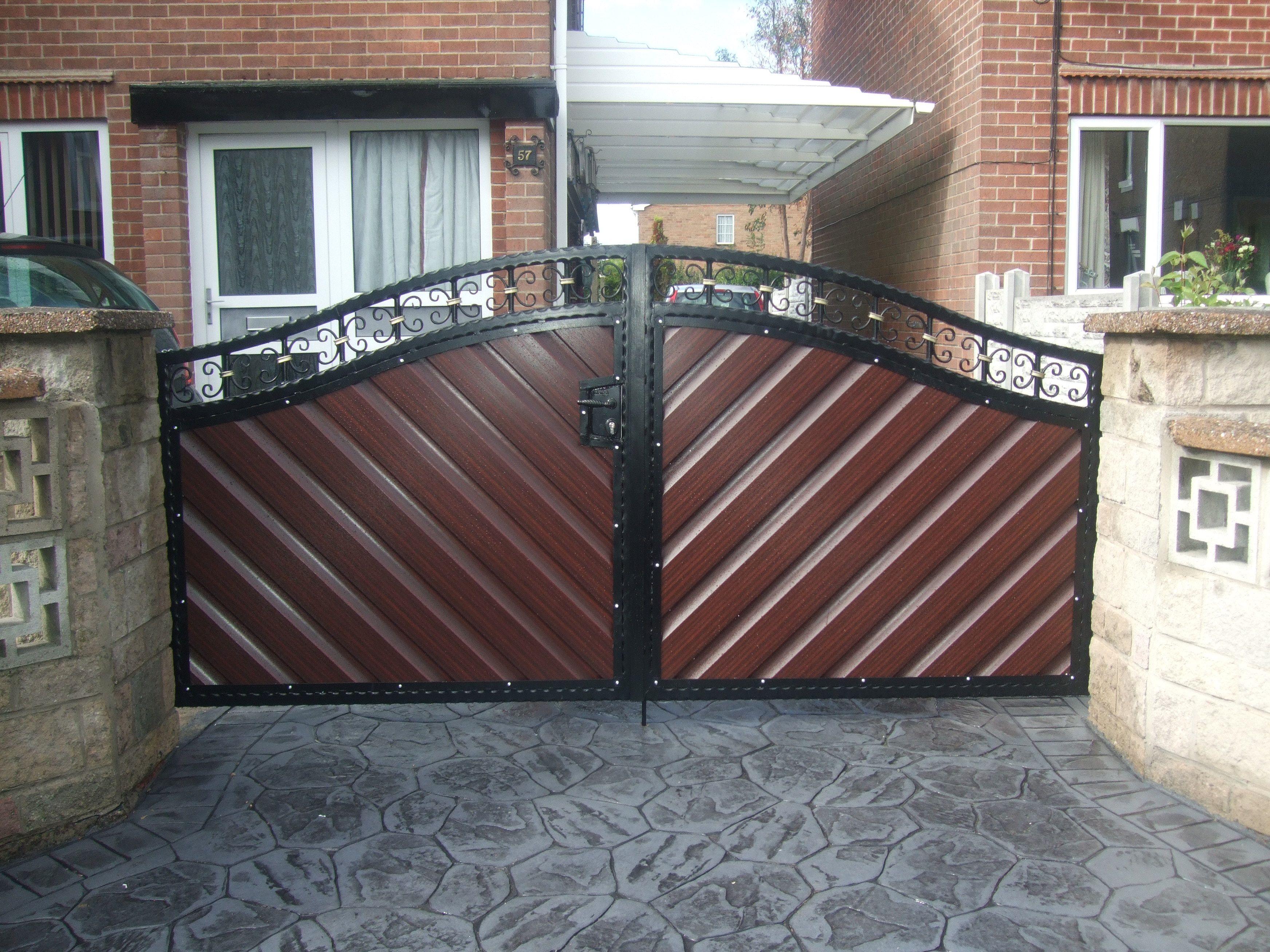 Porton de madera y hierro decoracion pinterest gates for Disenos d puertas d madera