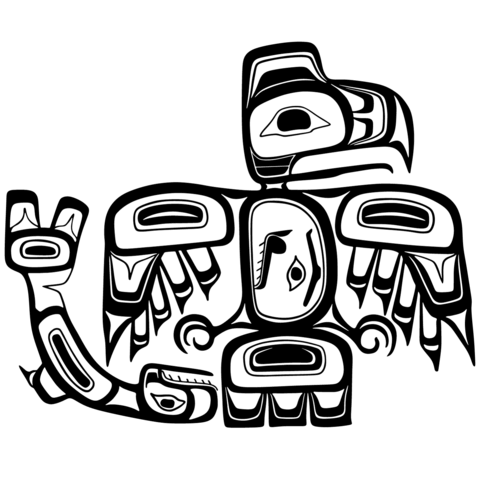 haida art eagle and salmon coloring page