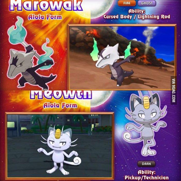 Pokemon Sun/Moon Alola forms; Marowak & Meowth! Excited to see cubone and…
