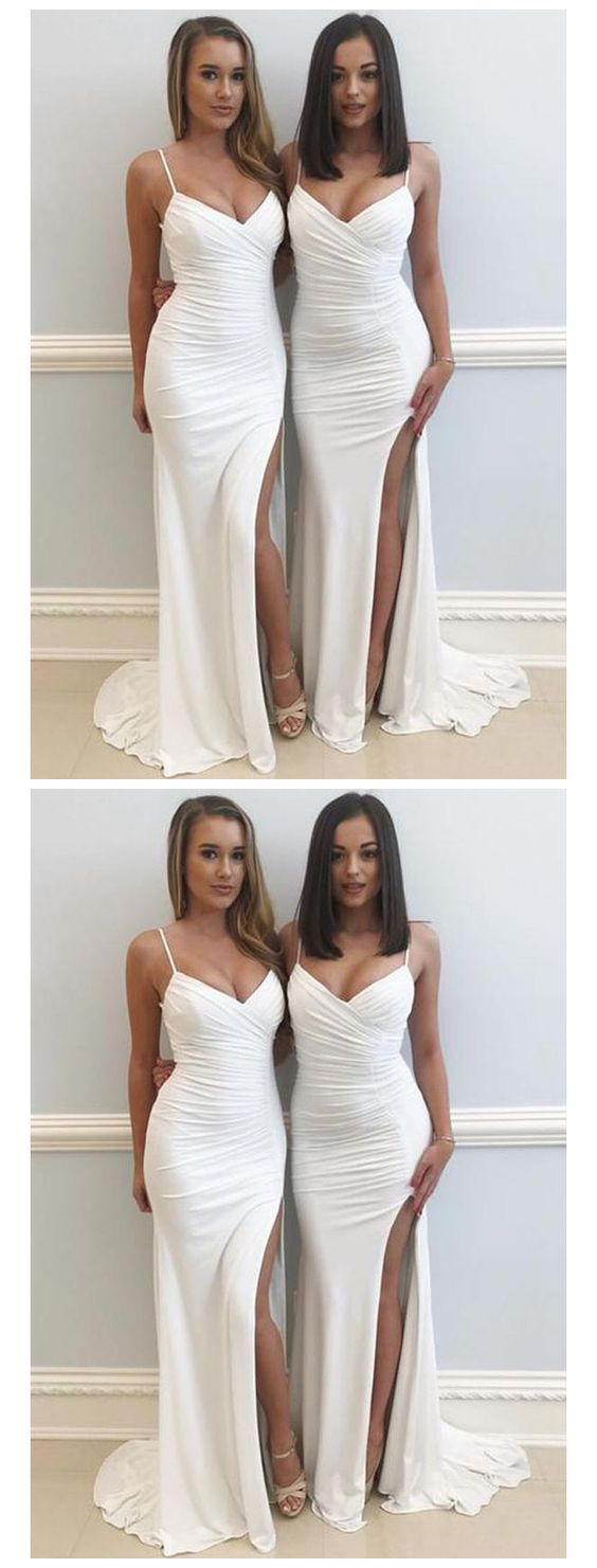 Ivory white mermaid bridesmaid dresses sexy bridesmaid dress with