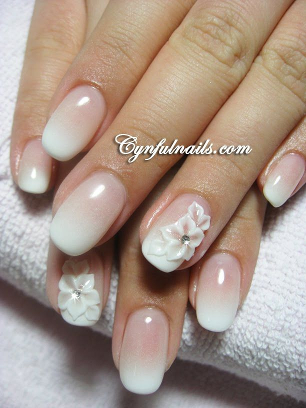 Wedding Nail Design Floral French Ombre Beautiful Pink And White Gradient Rounded Nails With 3D Flowers Centered Rhinestones