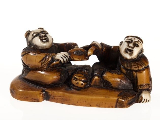 Ivory Netsuke Two Raucous Boys, Japan, Meiji Period