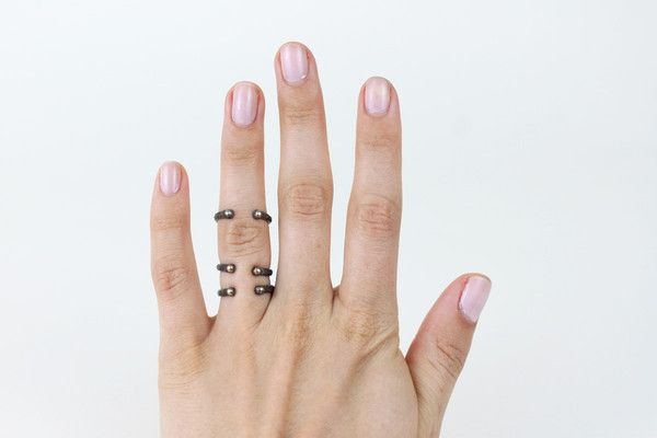 Broken Bones Ring Set.  I love the different ways that you can stack these rings on your fingers.  Push them all together as a simple subtle group.  Spread them out for an edgier look.  Or scatter them across for hands for a daintier feel.  mooreaseal.com
