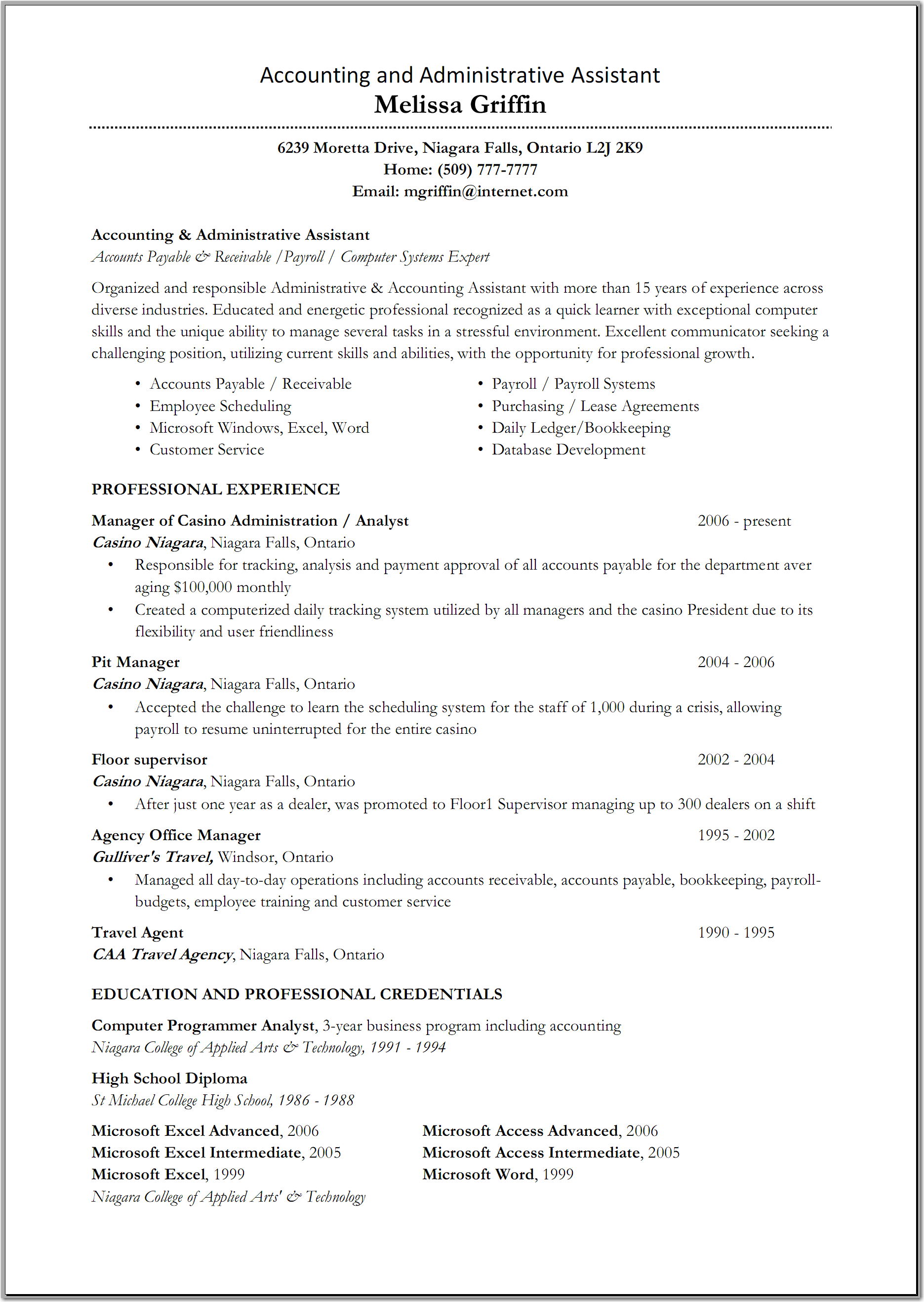 Resume Sample For Administrative Assistant