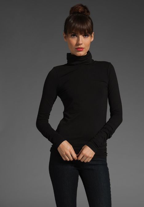 black pants and fitted black turtleneck with top knot so audrey hepburn Source by andreasakoff turtleneck outfit