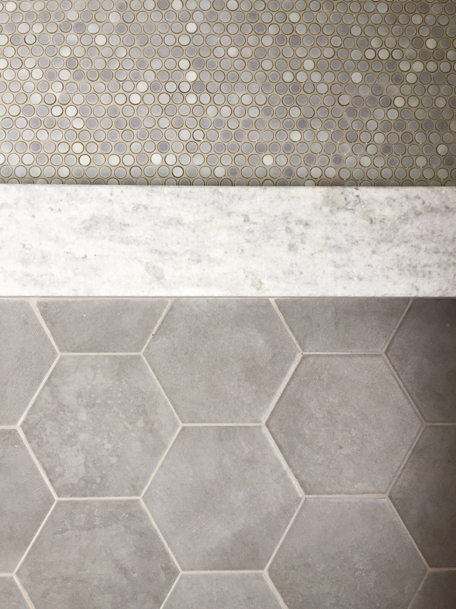 Tile Flooring Penny Tile Hex Tile White Granite Master Bathroom