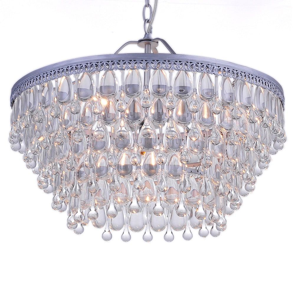 Wesley crystal 6 light chandelier with clear teardrop beads 165 wesley crystal chandelier with clear teardrop beads matte silver inches high x 20 inches wide arubaitofo Image collections