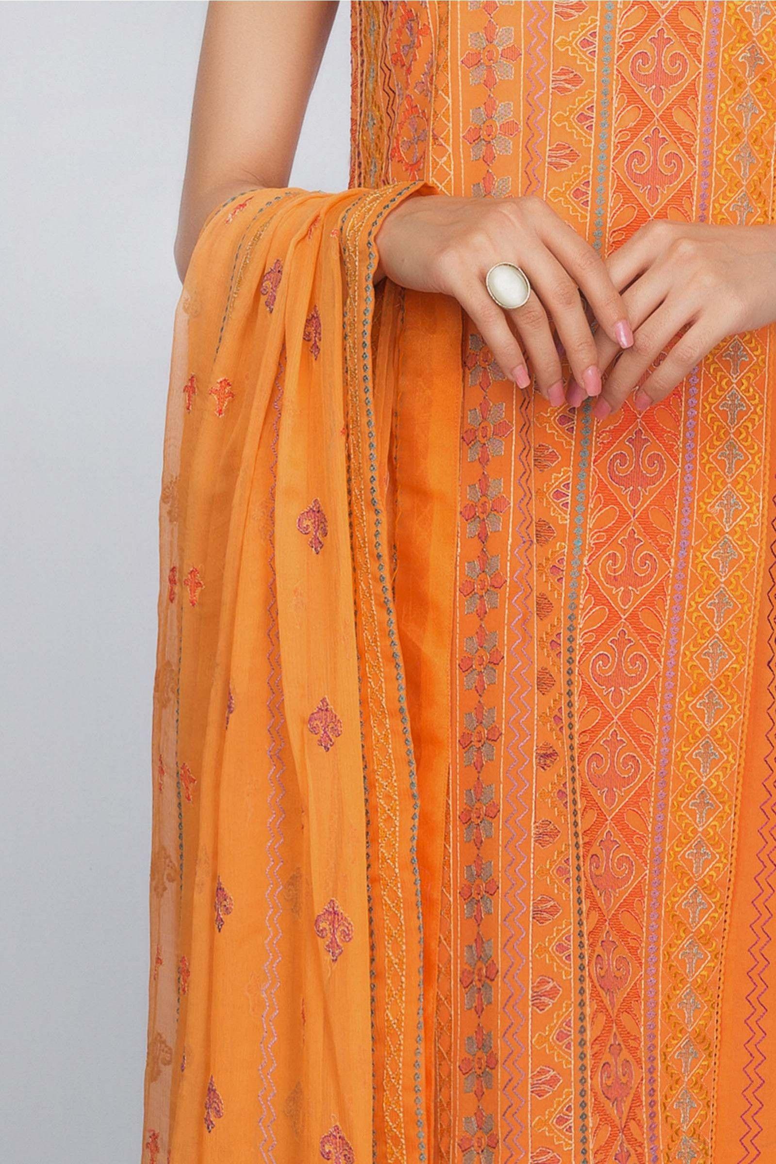 3082d0b57be Elegant orange 3 piece unstitched pret dress by Bareeze spring collection   springcollection  spring  readytowear  pretwear  unstitched  online  linen  ...