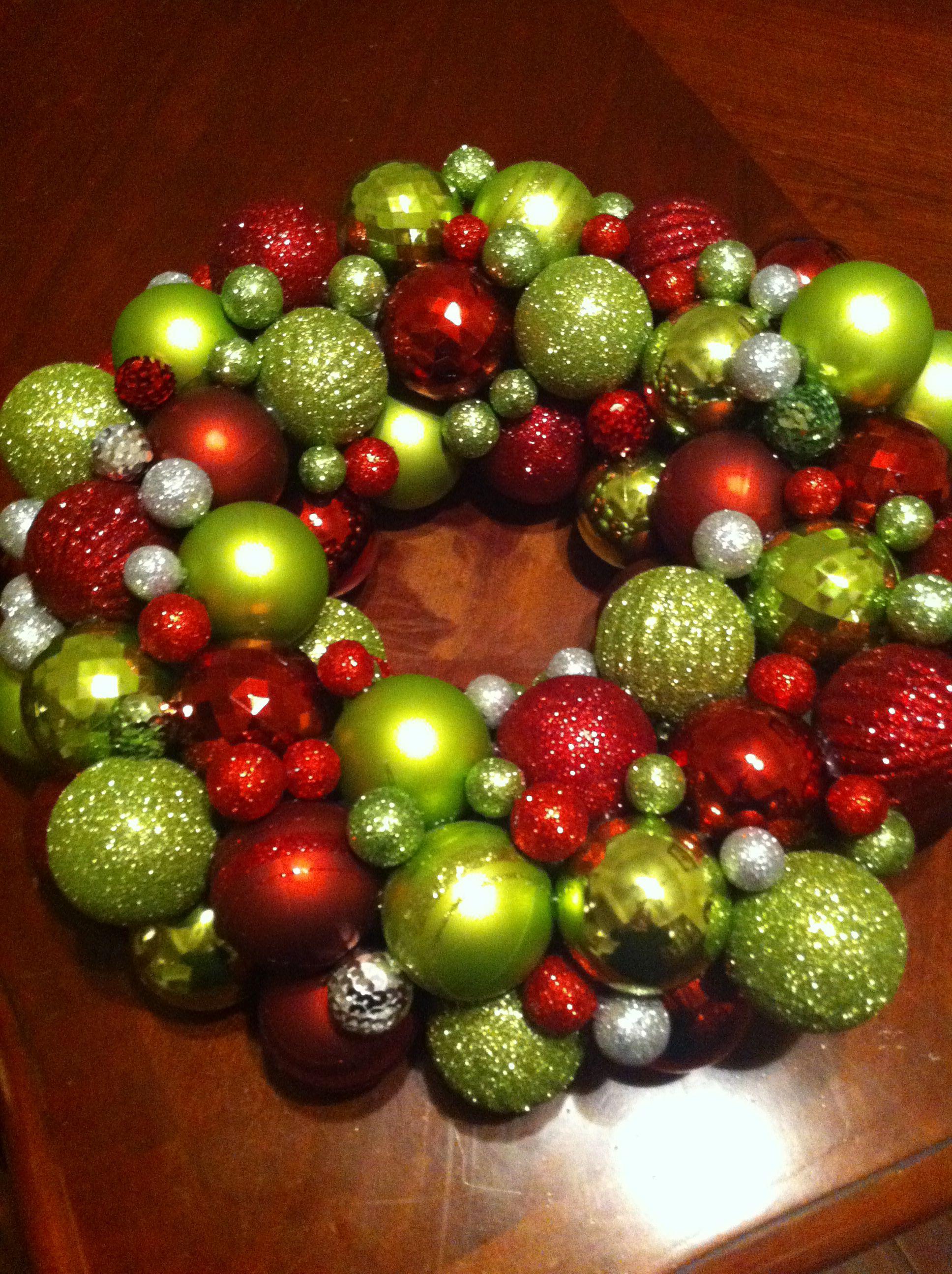 Ornament wreath, on round 12 inch foam wreath , hot glued