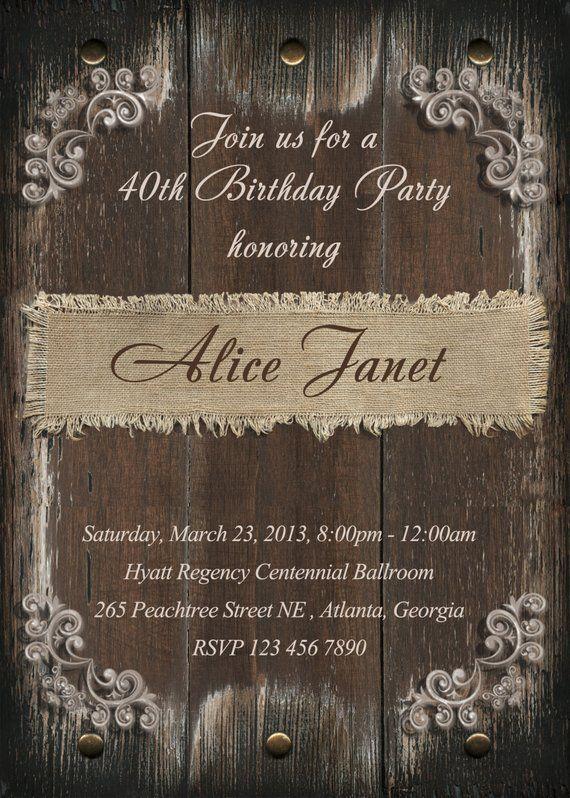 Rustic Birthday Party Invitation 21st 30th 40th 50th 60th 70th 80th 90th