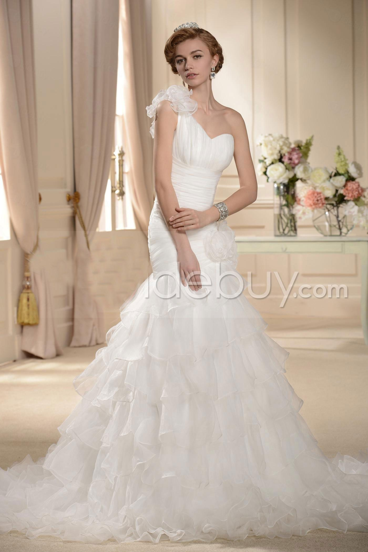 Mermaid ruffle wedding dress  Gorgeous TrumpetMermaid Oneshoulder Sweetheart Ruffling Wedding