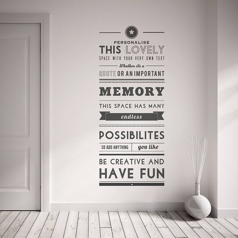 Personalised Quote Wall Sticker from notonthehighstreet ...