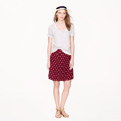 Silk pleated skirt in mini medallion - Mini - Women's skirts - J.Crew