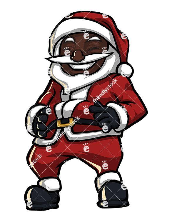 Black Santa Claus Laughing Hard Cartoon Clipart Vector Friendlystock Cartoon Clip Art Black Santa Santa Claus Clipart