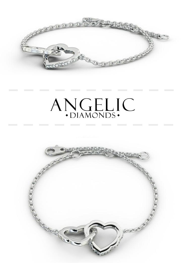 Heart design delicate diamond bracelet k white gold tiana