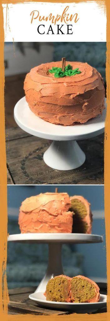 Pumpkin Cake #pumpkinshapedcake PUMPKIN SHAPED CAKE made using two bundt pans! #pumpkincakerecipe #pumpkincake #pumpkinspice #pumpkinrecipes #pumpkinshapedcake