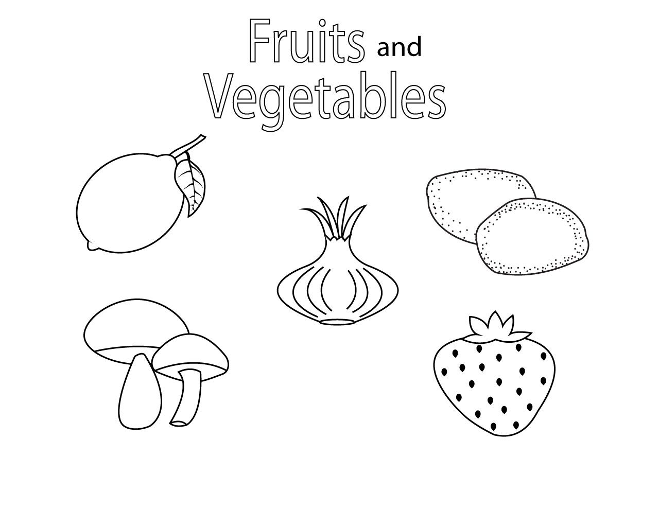 Fruit And Vegetables Coloring Pages For Kids We All Love