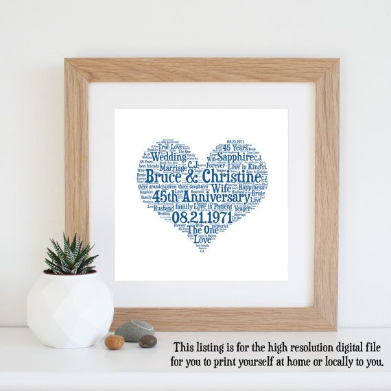 45th Anniversary Gift Word Art Printable 45 Year Wedding