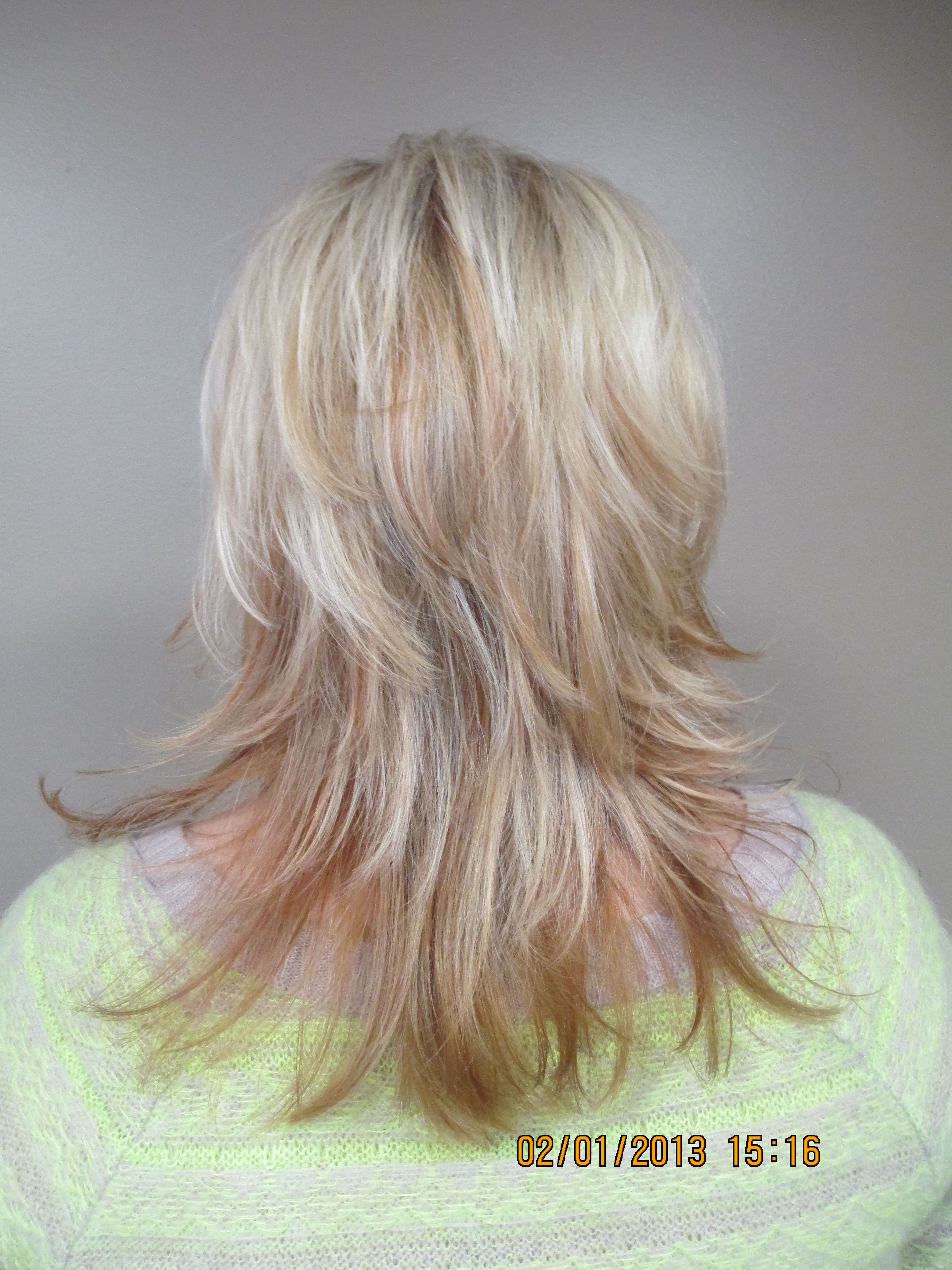 Rear View Updated Gypsy Shag With Triple Blond Highlights Done By