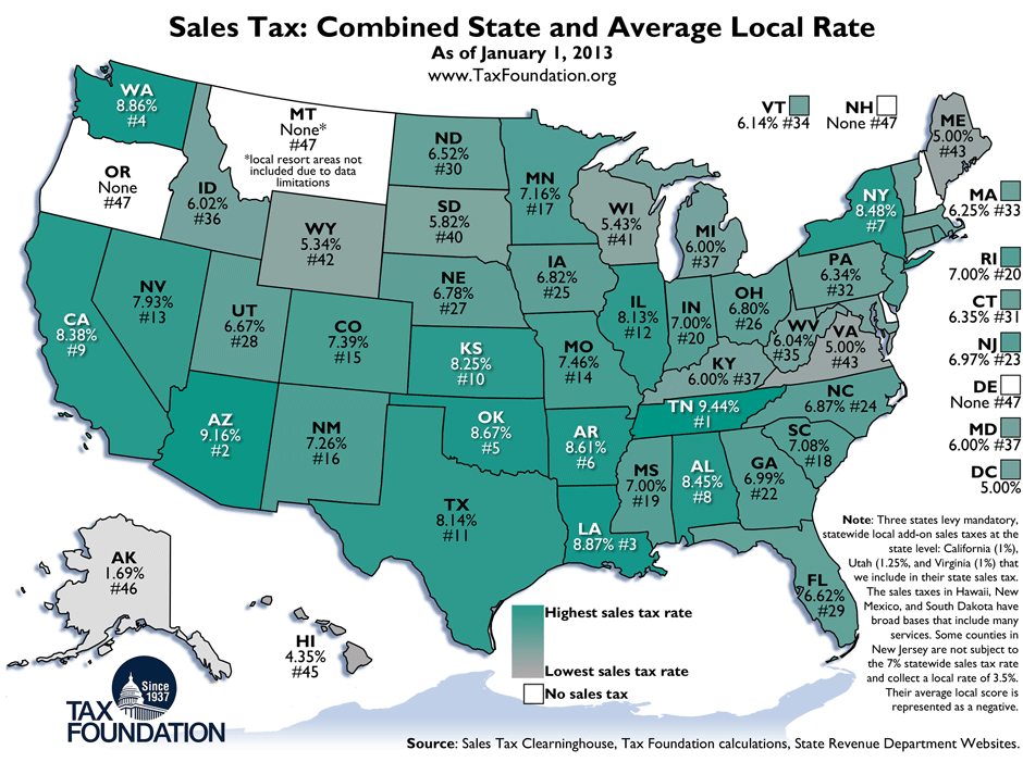 New York State Sales Tax Rate >> State and Local Sales Tax Rates, 2013 | Maps | Pinterest ...