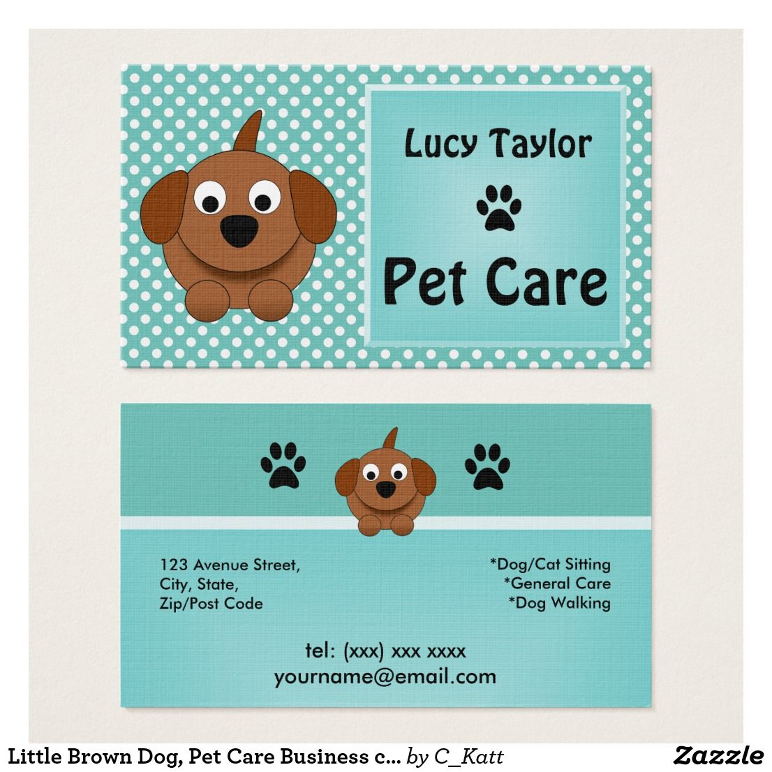 Little Brown Dog, Pet Care Business cards | Pet care and Business cards
