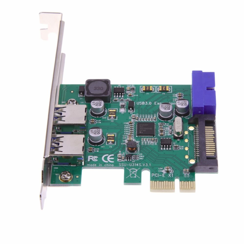 Free POST 1 pcs SuperSpeed 2-Port USB 3.0 19-pin USB3.0 PCI-E PCI Express pcie Card Motherboard 20P 20 pin Connector NEC Chipset