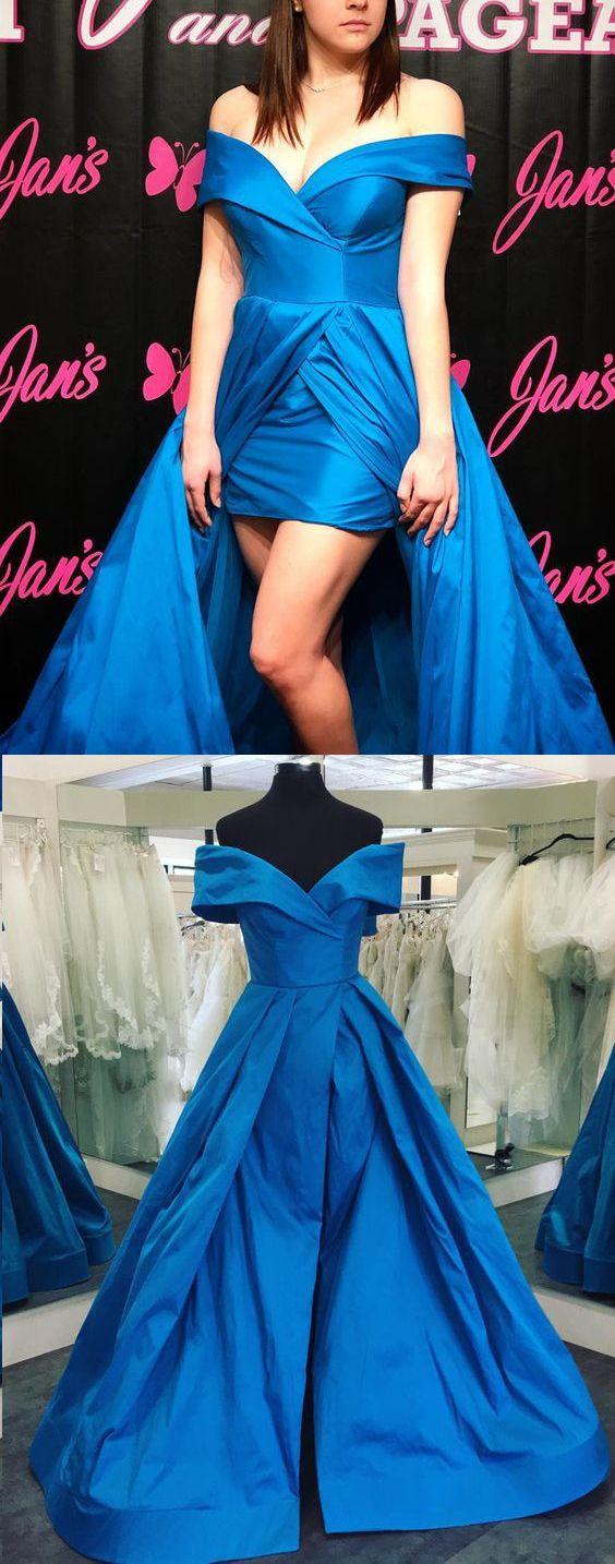 Off the shoulder high low taffeta prom dress royal blue formal