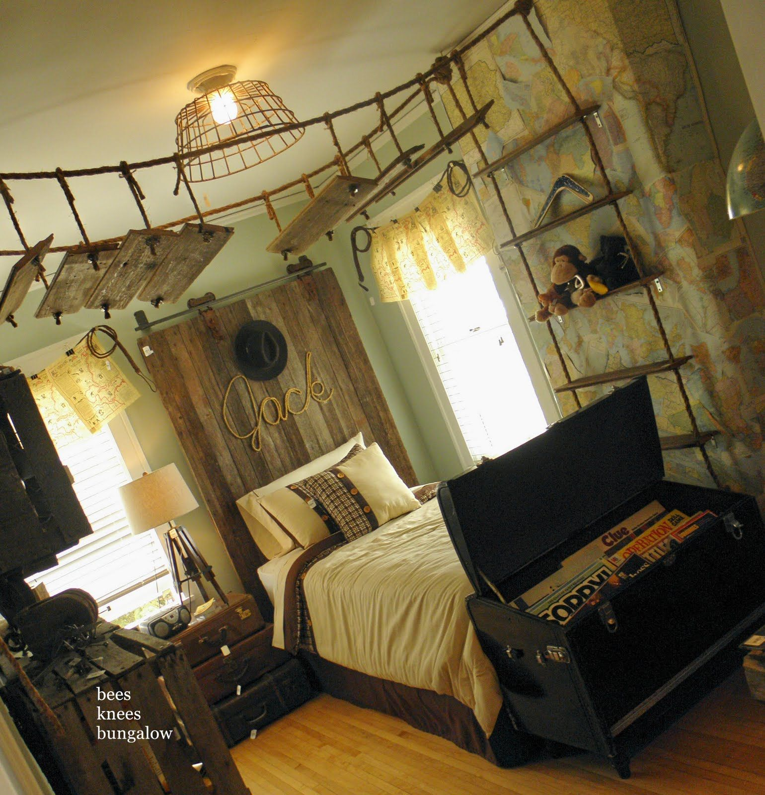 Fun Boys Room ~ Love The Headboard & Vintage Lighting