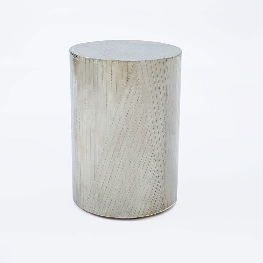 Etched Metal Side Table - Silver, Family Room - Etched Metal Side Table - Silver, Family Room Williams