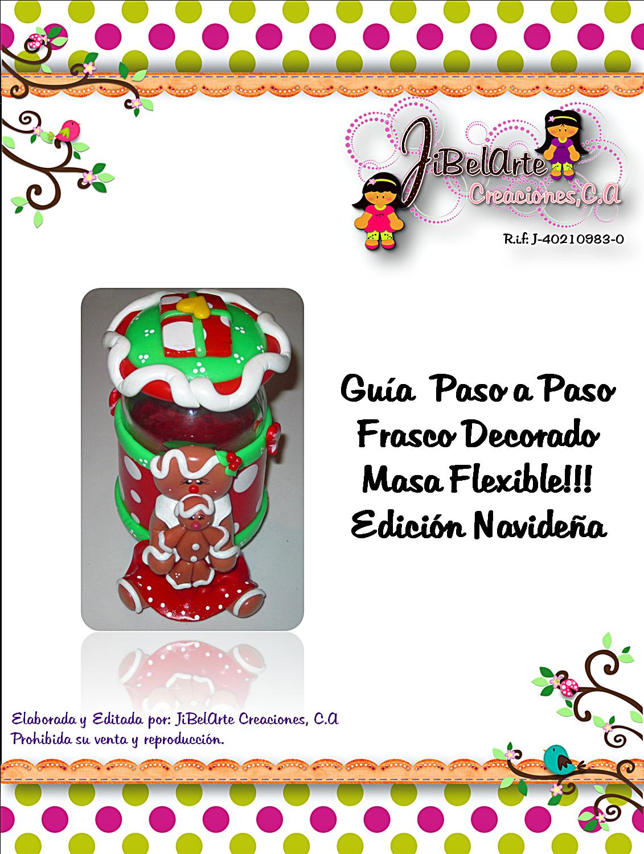 Guía Digital de Frasco decorado Navidad en Masa Flexible by JiBelArte Creaciones