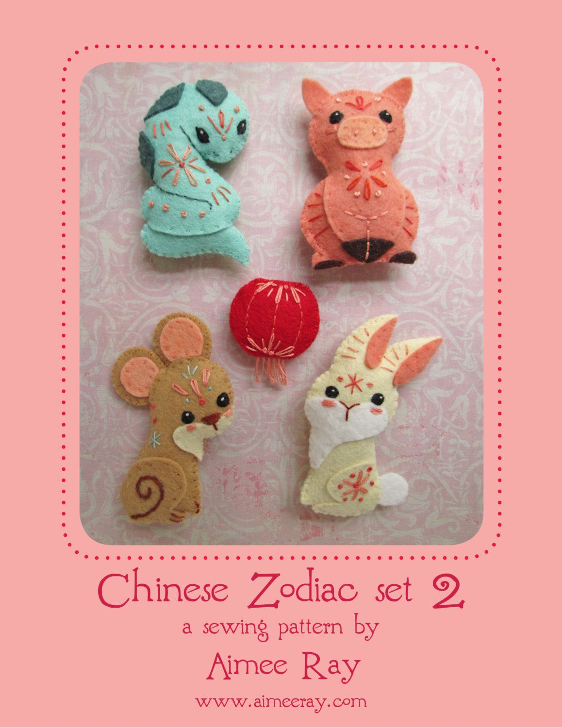 Sew your own Mini felt Chinese Zodiac Animals plush PDF pattern SET ...