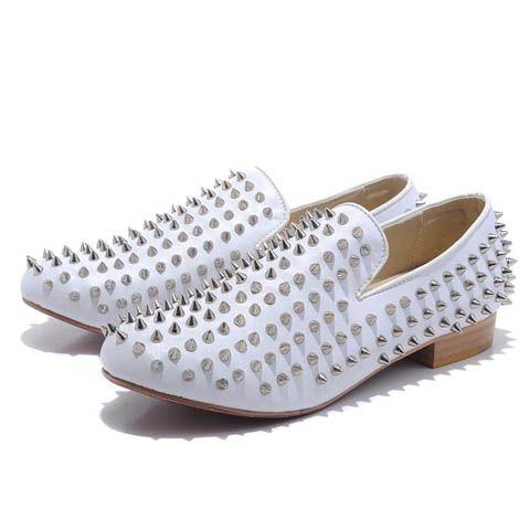 White Christian Louboutin Rollerball Spiked Velvet Men Shoes 109 00