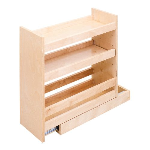 Base Cabinet Filler Pullout SPICE RACK REAL WOOD ROLL OUT TRAYS ...