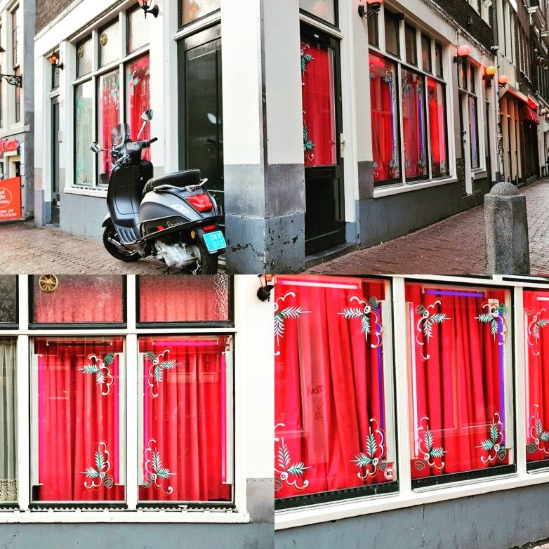Christmas Decoration On The Windows In The Red Light District Of