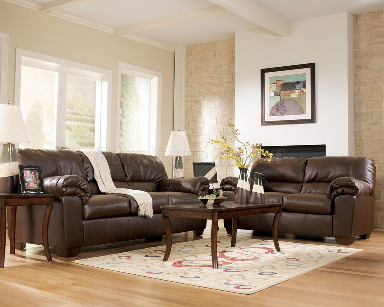 Charmant Interior Design Living Room Brown Sofa