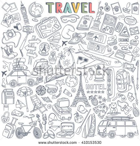 World Travel Set Hand Drawn Simple Vector Sketches Collection