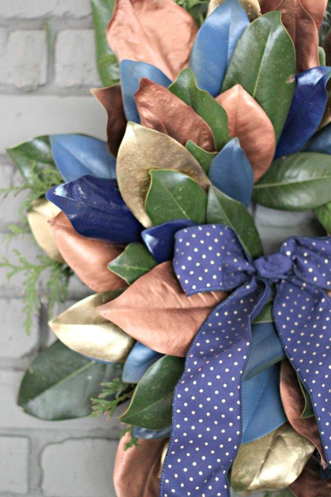 Photo of DIY Magnolia Wreath Tutorial, Metallic Magnolia Leaf Wreath