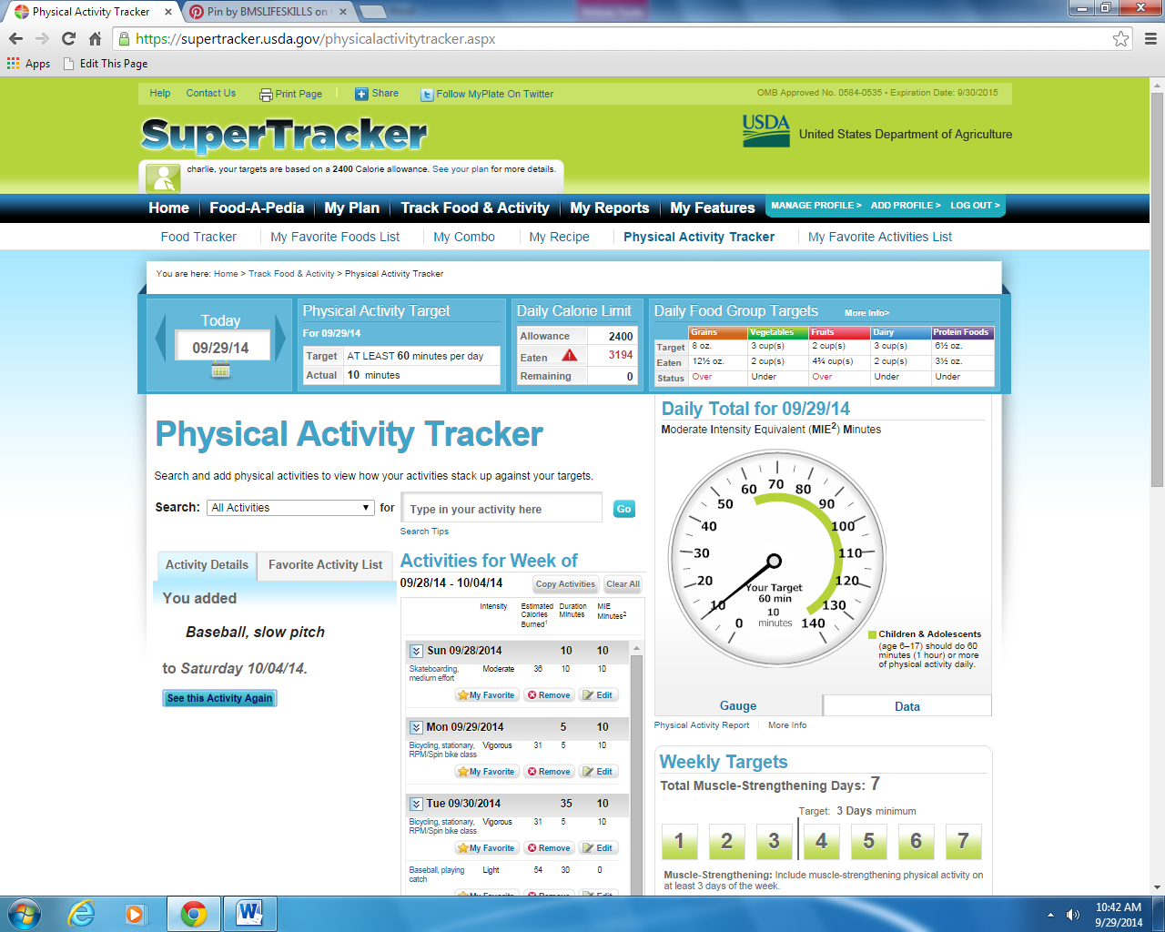 physical activity week 3 Physical activity tracker