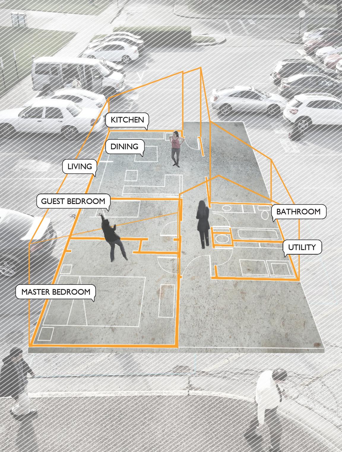 Real-scale floor plan. Porch House. Houston's Fifth Ward.   Elizabeth Giusti, Darian Jones, Cheryl Joseph. University of Houston College of Architecture & Design.