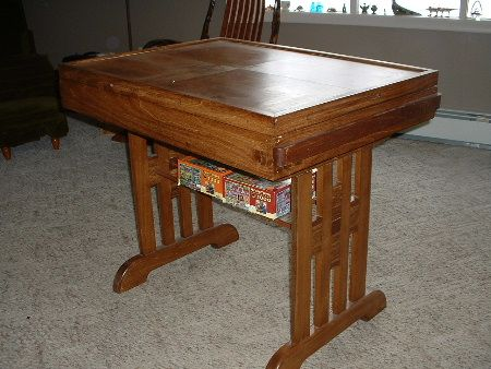 Puzzle Table Closed Up Drawers Slide Into Side To Hold