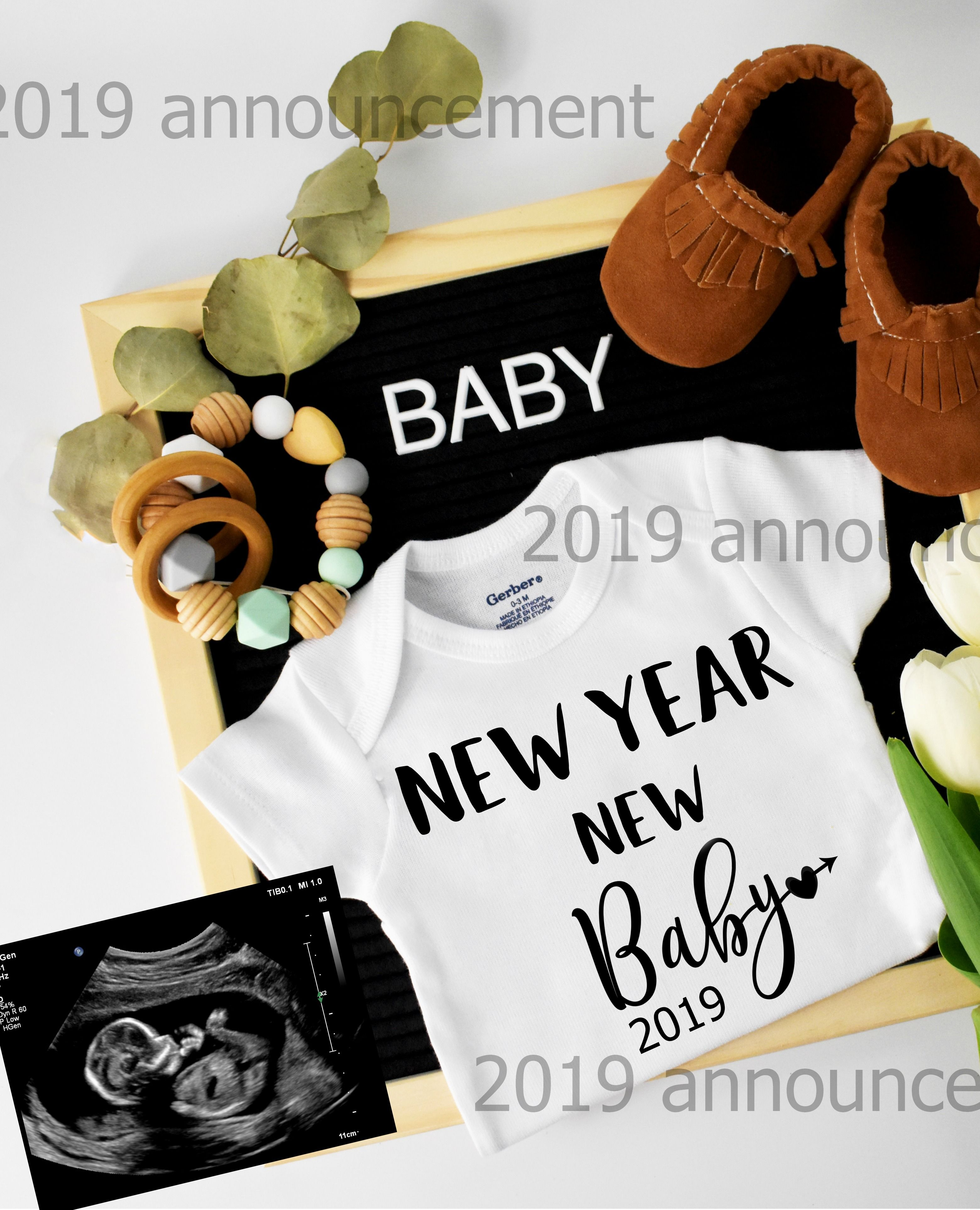 cd14a10e03e4a New year new baby 2019 announcement! | Baby announcements ideas ...