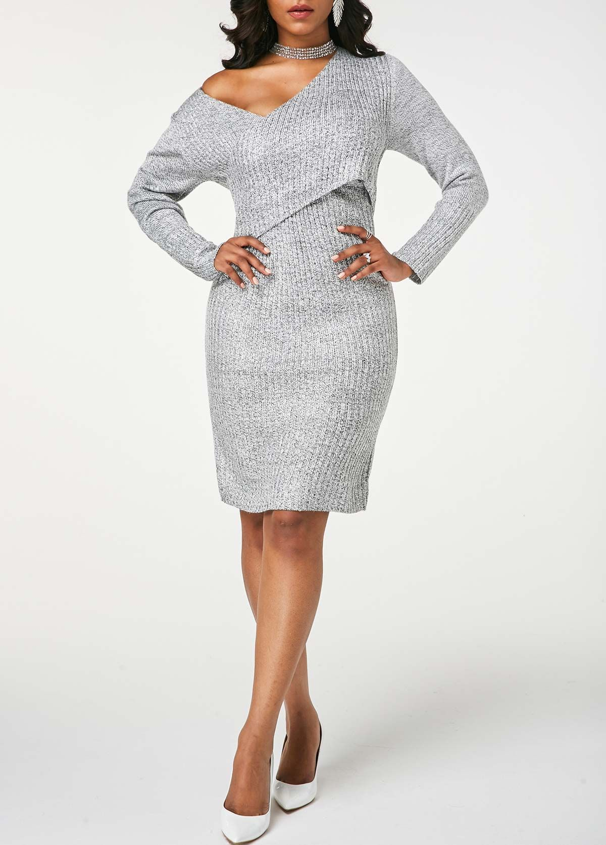 Long sleeve v neck ribbed crossover sweater dress dress in