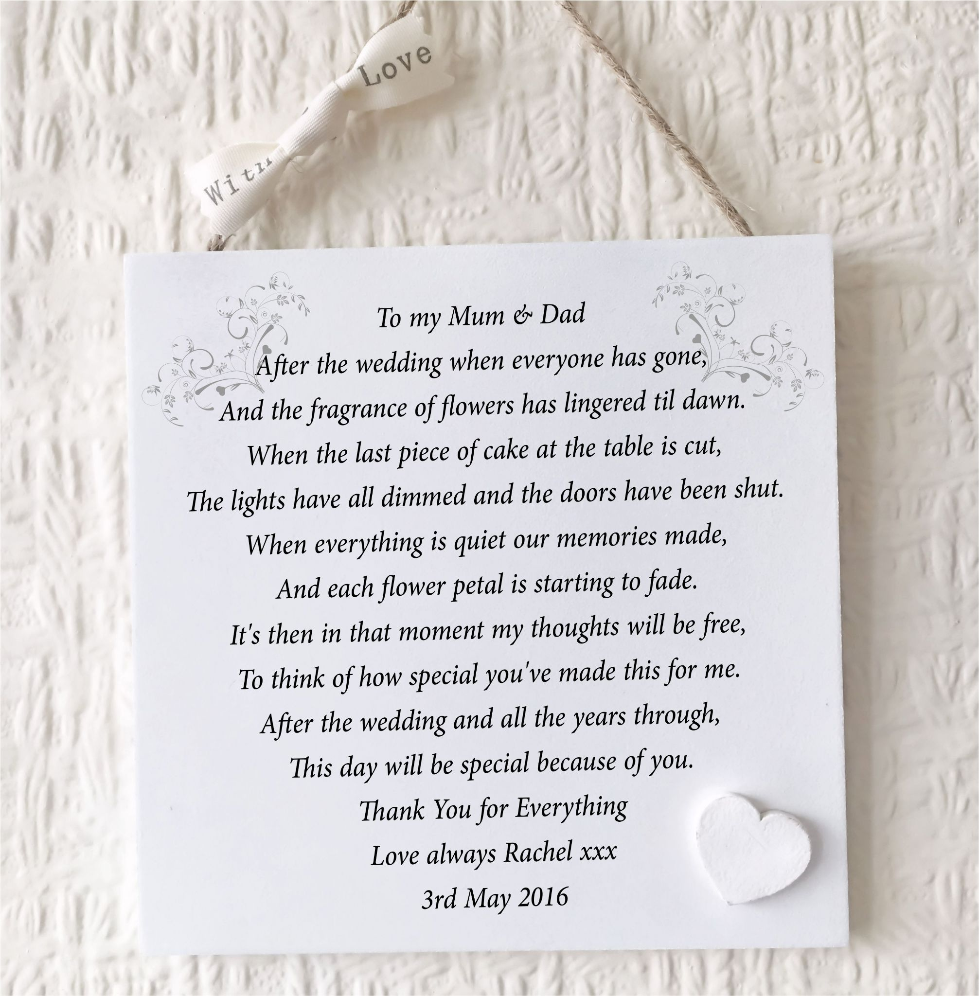 Parents Thank You Wedding Gift Personalised Mum Dad Plaque Bride Groom Quot Letter Wedding Gifts For Parents Dad Wedding Gift Wedding Gifts For Bride And Groom