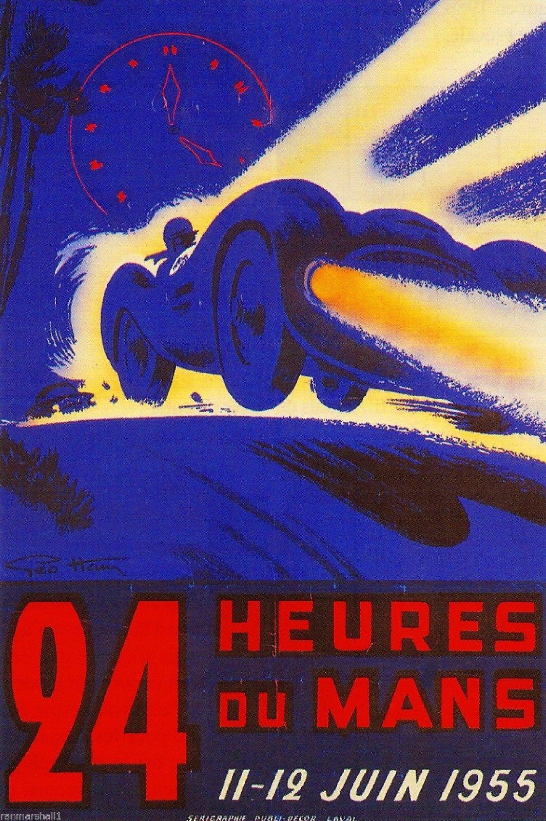 1955 24 Hours Le Mans France Automobile Race Car Advertisement Vintage Poster | eBay