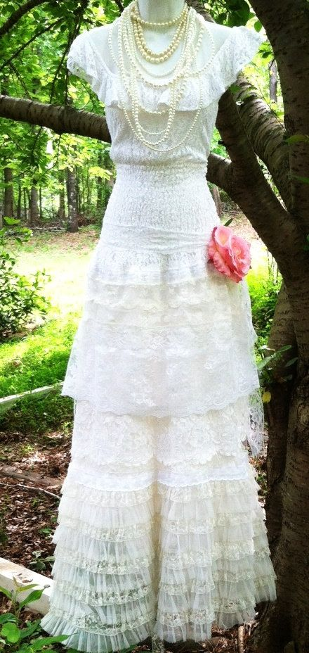 Ivory lace dress wedding tiered tulle off shoulder vintage bride ...