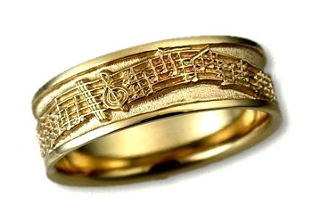 14kt Yellow Gold Custom Music Notes Wedding Band Custom Wedding
