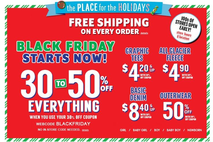 The Children S Place Black Friday Deals Are Live 30 Off Entire Site And Free Shipping No Minimum Black Friday The Children S Place Black Friday Graphic