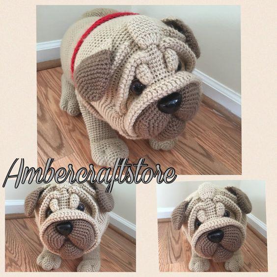 Pug dog crochet pattern PDF. English USA | Mops hund, Rotes herz und ...